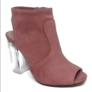Suede Delicious Open Toe Chunky Lucite Clear Heel